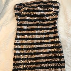 Black and gold sequined mini dress